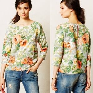 Anthro HD Bloomfield Floral Blouse Small